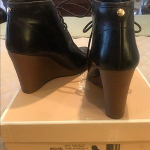 Michael Kors Rory Leather Wedge Bootie